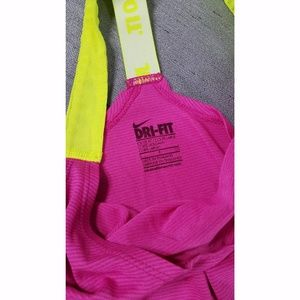 Nike Tops - Nike Small Pink Yellow Elastika Loose Fit Tank